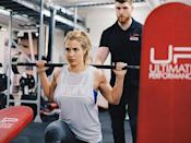 """<p>One type of movement that helps you get more bang for your buck? Compound exercises. These are moves that engage more than one muscle group at the same time. For example, <a href=""""https://www.womenshealthmag.com/uk/fitness/strength-training/a708464/how-to-squat-properly/"""" rel=""""nofollow noopener"""" target=""""_blank"""" data-ylk=""""slk:squats"""" class=""""link rapid-noclick-resp"""">squats</a>, <a href=""""https://www.womenshealthmag.com/uk/fitness/workouts/a706790/how-to-deadlift-properly/"""" rel=""""nofollow noopener"""" target=""""_blank"""" data-ylk=""""slk:deadlifts"""" class=""""link rapid-noclick-resp"""">deadlifts</a>, pull-ups, bench presses and tricep dips. </p><p>Gemma makes sure these are the foundation of her fitness routine to build strength evenly and efficiently. <br></p>"""