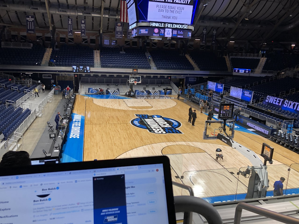 Doing some postgame work after UCLA's NCAA tournament victory over Alabama at Hinkle Fieldhouse.