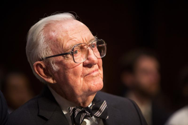 """Former Supreme Court Justice John Paul Stevens testifies beforea Senate committeeduring a hearing entitled """"Dollars and Sense: How Undisclosed Money and Post-McCutcheon Campaign Finance Will Affect 2014 and Beyond,"""" on April 30, 2014, in Washington, D.C."""