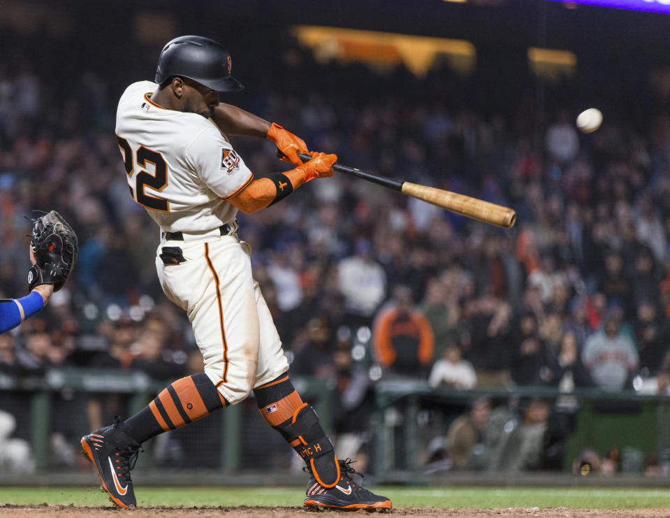 Andrew McCutchen busted out of a 2-for-24 slump to start the season with a six-hit night that included a walk-off three-run home run in the 14th inning. (AP)