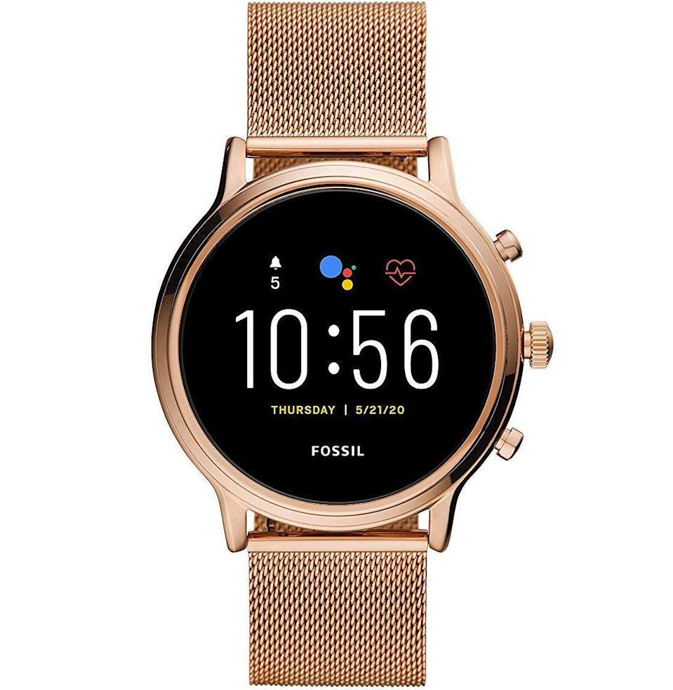 """<p><strong>Fossil</strong></p><p>amazon.com</p><p><strong>$285.99</strong></p><p><a href=""""https://www.amazon.com/dp/B083T6BFN8?tag=syn-yahoo-20&ascsubtag=%5Bartid%7C10054.g.2121%5Bsrc%7Cyahoo-us"""" rel=""""nofollow noopener"""" target=""""_blank"""" data-ylk=""""slk:Buy"""" class=""""link rapid-noclick-resp"""">Buy</a></p><p>A heart rate-tracking, Google Assistant-using smartwatch that's beautiful enough to wear every day, and so useful she won't want to spend a minute without it on her wrist.</p>"""