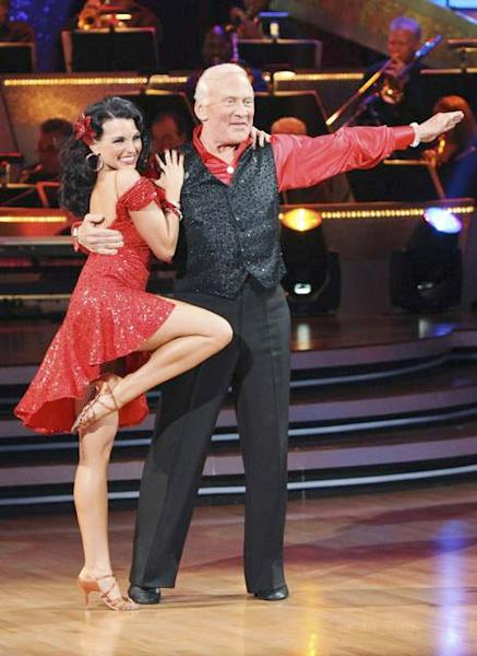 "Buzz Aldrin and Ashly Costa strike a pose as they complete their first live routine on ""Dancing with the Stars"" on March 22, 2010."