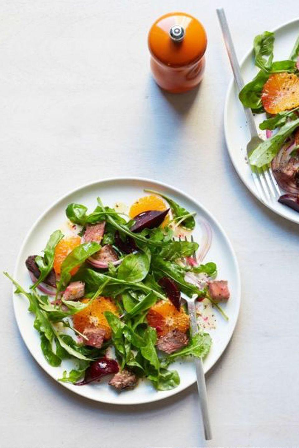 "<p>You don't have to cut red meat from your diet: Portions and leaner cuts are key. Pairing steak with oranges and beets helps keep this salad light and refreshing, yet totally satisfying.</p><p><a href=""https://www.womansday.com/food-recipes/food-drinks/recipes/a53273/beet-tangerine-and-steak-salad/"" rel=""nofollow noopener"" target=""_blank"" data-ylk=""slk:Get the recipe for Beet, Tangerine and Steak Salad."" class=""link rapid-noclick-resp""><em>Get the recipe for Beet, Tangerine and Steak Salad.</em></a><br></p>"