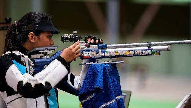 Apurvi Chandela competes in the women's 10m air rifle event. AP