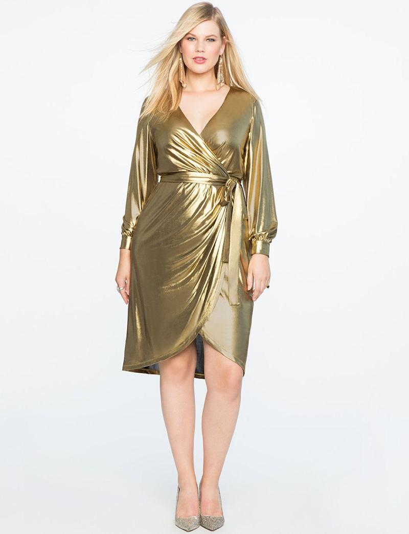 "From <a href=""http://www.eloquii.com/draped-front-metallic-knit-dress/1225326.html?cgid=dresses&dwvar_1225326_colorCode=100&start=33http://www.eloquii.com/metallic-knit-wrap-dress/1245549.html?cgid=event-dresses&dwvar_1245549_colorCode=20&start=9"" target=""_blank"">Eloquii</a>. Comes up to a size 24."