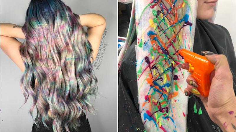 This Hairstylist Couple Used Water Guns to Create This Viral Rainbow Hair