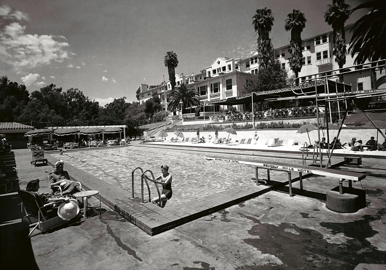 In this 1938 image released by Beverly Hills Collection, pool at The Beverly Hills Hotel is seen upon completion. The Beverly Hills Hotel is celebrating its 100th Anniversary in May. (AP Photo/Beverly Hills Collection)