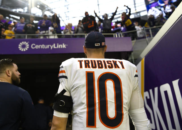 "Did the Chicago Bears consider <a class=""link rapid-noclick-resp"" href=""/nfl/players/30115/"" data-ylk=""slk:Mitchell Trubisky"">Mitchell Trubisky</a> too much of a threat for Mitch Trubisky? (Photo by Stephen Maturen/Getty Images)"