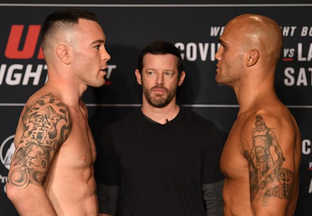 (L-R) Opponents Colby Covington and Robbie Lawler face off during the UFC Fight Night official weigh-in at the DoubleTree Hotel on August 02, 2019 in Newark, New Jersey. (Josh Hedges/Zuffa LLC)