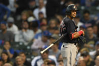 Cleveland Indians' Cesar Hernandez reacts after striking out during the third inning of a baseball game against the Chicago Cubs Tuesday, June 22, 2021, in Chicago. Chicago won 7-1. (AP Photo/Paul Beaty)
