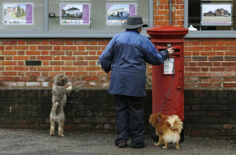 A dog walker posts a letter in a Royal Mail post box in Maybury near Woking in southern England