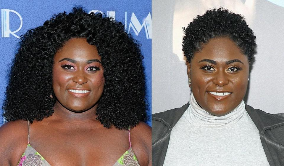 """Brooks added her name to the list of celebrities to make the """"big chop"""" in 2018. The <em>Orange Is the New Black</em> star celebrated her new, natural look on Instagram, <a href=""""https://www.instagram.com/p/BpfXl9Clyv6/?utm_source=ig_share_sheet&igshid=sqlu3bv4vgkn"""" rel=""""nofollow noopener"""" target=""""_blank"""" data-ylk=""""slk:writing"""" class=""""link rapid-noclick-resp"""">writing</a>, """"I got that new do boo. 👻 💕 Catch them waves. 🌊 #firstbigchop"""""""