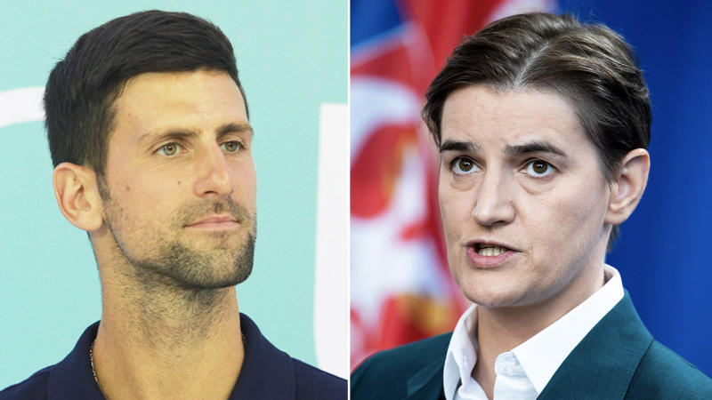 Prime Minister of Serbia Ana Brnabic (pictured right) has defended Novak Djokovic (pictured left) and said the criticism should be directed at her for the ill-fated Adria Tour. (Getty Images)