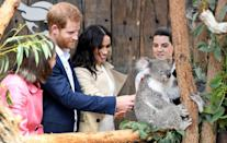 """<p><a href=""""https://www.cosmopolitan.com/uk/reports/a23812645/meghan-markle-baby-bump-pictures/"""" rel=""""nofollow noopener"""" target=""""_blank"""" data-ylk=""""slk:One of their first stops"""" class=""""link rapid-noclick-resp"""">One of their first stops</a> was to Taronga Zoo in Sydney, where they met a Koala named Ruby and its joey, Meghan - named after the Duchess. This was not the <a href=""""https://www.cosmopolitan.com/uk/reports/a23583151/prince-harry-australia-tour-2003/"""" rel=""""nofollow noopener"""" target=""""_blank"""" data-ylk=""""slk:Duke's first time meeting a koala"""" class=""""link rapid-noclick-resp"""">Duke's first time meeting a koala</a>, we might add.</p>"""