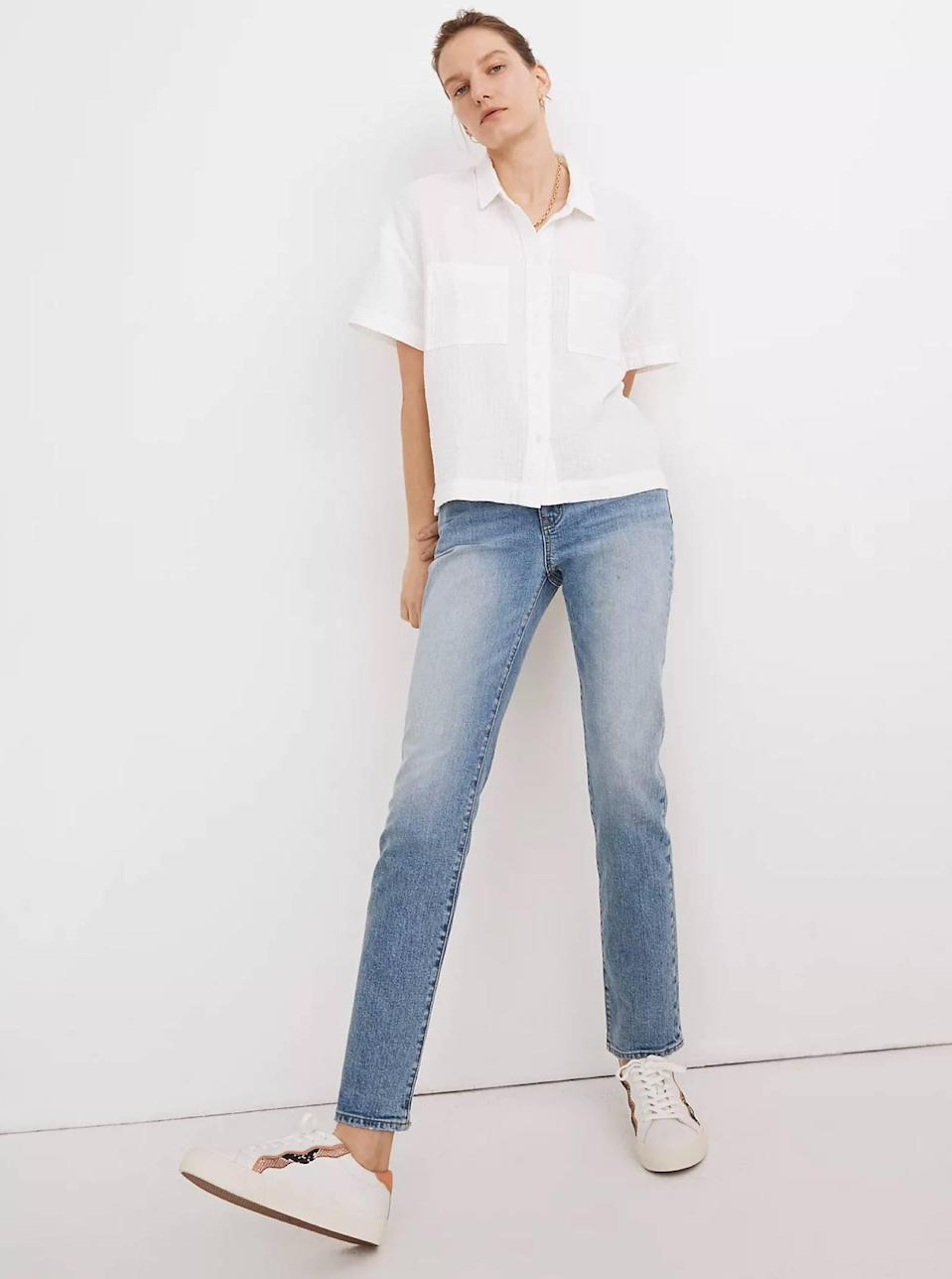 """Wear a <a href=""""https://www.glamour.com/gallery/best-white-button-down-shirts-women?mbid=synd_yahoo_rss"""" rel=""""nofollow noopener"""" target=""""_blank"""" data-ylk=""""slk:white button-down"""" class=""""link rapid-noclick-resp"""">white button-down</a> closed, or leave it open over a <a href=""""https://www.glamour.com/gallery/best-slip-dresses?mbid=synd_yahoo_rss"""" rel=""""nofollow noopener"""" target=""""_blank"""" data-ylk=""""slk:slip dress"""" class=""""link rapid-noclick-resp"""">slip dress</a> for a perfect layered spring look. $59.5, Madewell. <a href=""""https://www.madewell.com/lightspun-beachside-shirt-MC806.html"""" rel=""""nofollow noopener"""" target=""""_blank"""" data-ylk=""""slk:Get it now!"""" class=""""link rapid-noclick-resp"""">Get it now!</a>"""