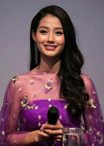 """Myanmar's Miss Universe contestant Swe Zin Htet is one of the faces of the """"pink pinky"""" campaign"""