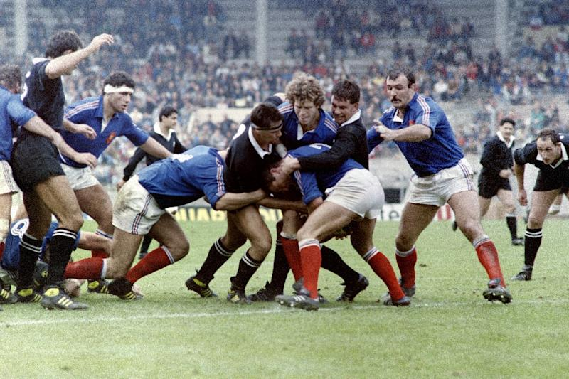"France face New Zealand's All Blacks on November 8, 1986 in Toulouse, ahead of their infamous ""Battle of Nantes"" clash"