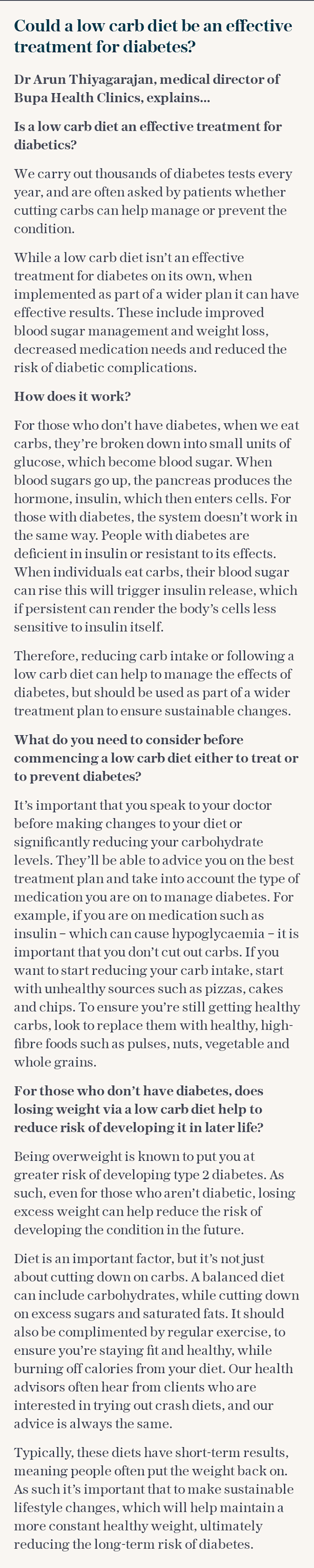 Could a low carb diet be an effective treatment for diabetes?