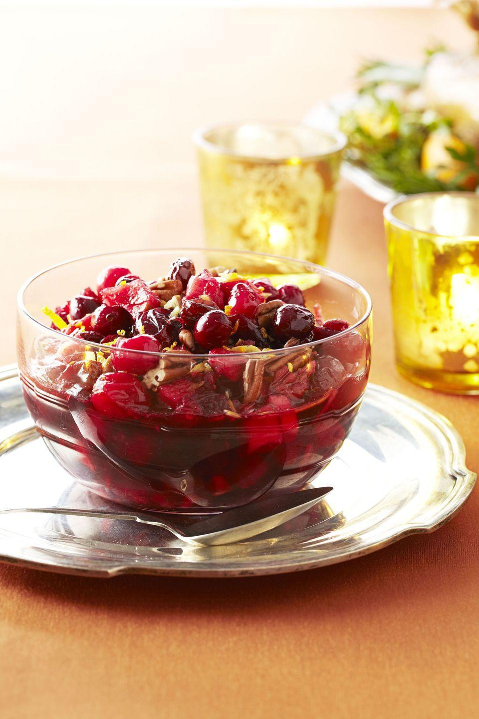 "<p>It's time to skip the canned cranberry sauce, people. This sweet and tangy side gets crunch from walnuts and tang from lemon and orange zest.</p><p><em><a href=""https://www.goodhousekeeping.com/food-recipes/a11228/cranberry-fruit-conserve-recipe-ghk111/"" rel=""nofollow noopener"" target=""_blank"" data-ylk=""slk:Get the recipe for Cranberry Fruit Conserve »"" class=""link rapid-noclick-resp"">Get the recipe for Cranberry Fruit Conserve »</a></em></p><p><strong>RELATED: </strong><a href=""https://www.goodhousekeeping.com/holidays/thanksgiving-ideas/g112/cranberry-sauce-recipes/"" rel=""nofollow noopener"" target=""_blank"" data-ylk=""slk:18 Cranberry Sauce Recipes That'll Convince You to Ditch the Can Opener"" class=""link rapid-noclick-resp"">18 Cranberry Sauce Recipes That'll Convince You to Ditch the Can Opener</a></p>"