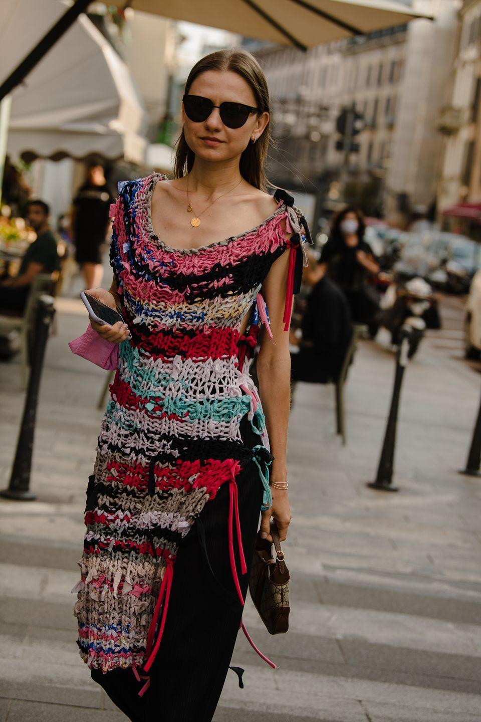 <p>Bright knits feel like a revelation amongst so much tan and black.</p>