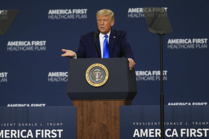 President Donald Trump delivers a speech about health care on Sept. 24, 2020 in Charlotte, North Carolina, less than six weeks before the November election.