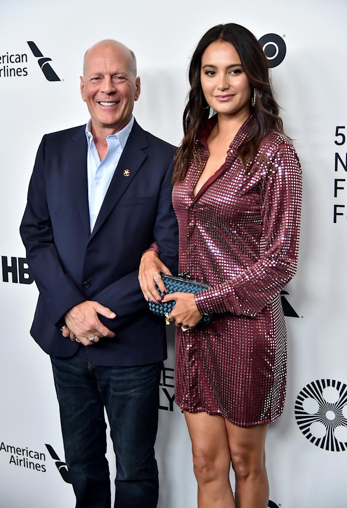 "Bruce Willis and wife Emma Heming Willis attend the ""Motherless Brooklyn"" arrivals during the 57th New York Film Festival on October 11, 2019 in New York City. (Getty Images)"
