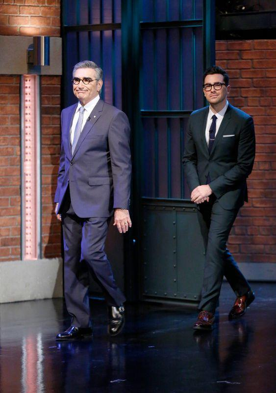 """Eugene and Dan Levy on """"Late Night With Seth Meyers"""" in New York City on Jan. 9, 2015."""