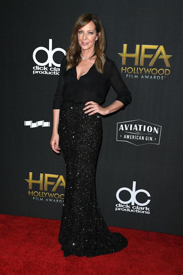 <p>The 57-year-old actress stuns in a sheer black blouse and sequined Rani Zakhem skirt. (Photo: Getty Images) </p>