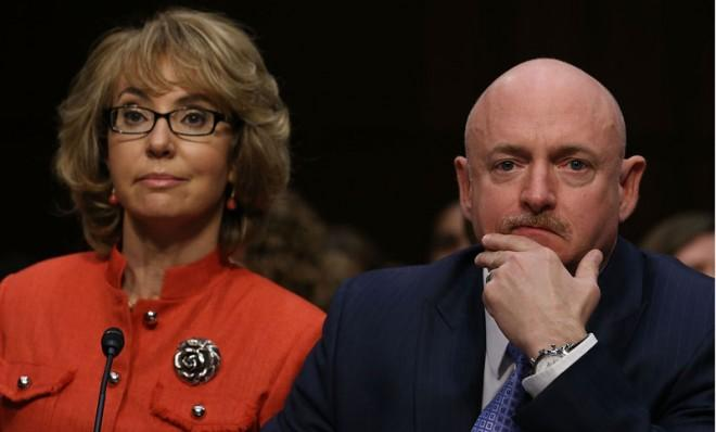 Mark Kelly and wife Gabrielle Giffords at a Senate Judiciary Committee hearing on gun violence on Jan. 30.