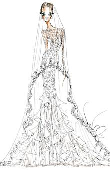 "Photo by: Illustration: Courtesy of Theia Theia Seeing as how Brad Pitt and Angelina Jolie got engaged for the sake of their six children, it's only fitting that Theia Creative Director Don O'Neill chose family as his inspiration for Angie's wedding gown. ""I envisioned Angelina as a wholesome sophisticated vision of the bride that her children imagine her to be, not her sexy red carpet signature style,"" he says. ""This one is for her family."" O'Neill's fantasy design features a long-sleeve silhouette of French Chantilly lace over a corseted sweetheart bodice in silk mousseline and organza with a tulle-appliqué hem. ""The dramatic silk tulle veil is trimmed with lace to add mystery and allure,"" the designer adds."