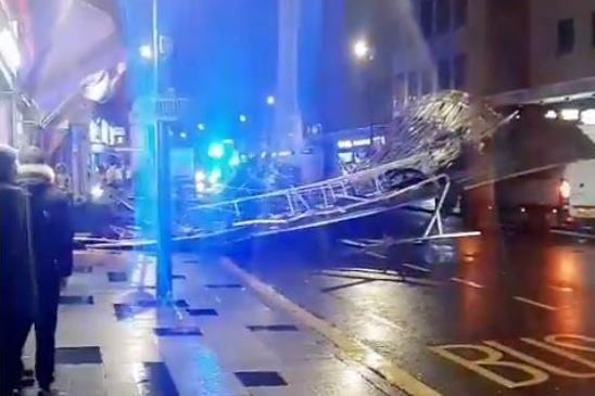 Massive section of a roof has crashed into Slough high street (Muhammed Faras Khan)