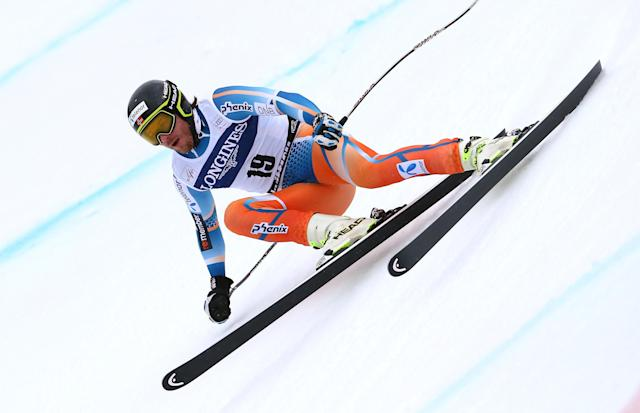 Norway's Kjetil Jansrud speeds down the course on his way to take the fith place at an alpine ski, men's World Cup downhill, in Kvitfjell, Norway, Saturday, March 1, 2014. (AP Photo/Alessandro Trovati)