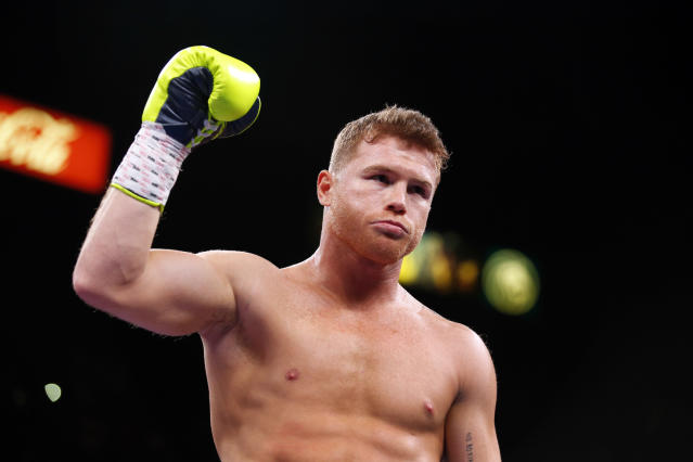 Canelo Alvarez is voluntarily relinquishing his light heavyweight title to comply with WBO rules. (Photo by Steve Marcus/Getty Images)
