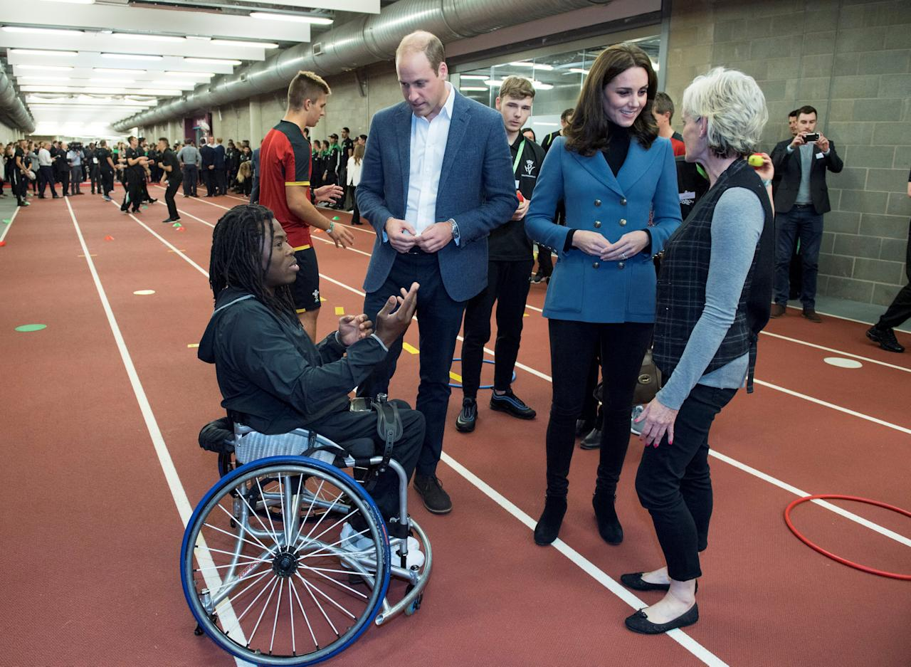 Britain's Prince William and Catherine, the Duchess of Cambridge chat to Judy Murray during a visit West Ham United's London Stadium for the the graduation ceremony of more than 150 Coach Core apprentices, in London, October 18, 2017. REUTERS/Arthur Edwards/Pool