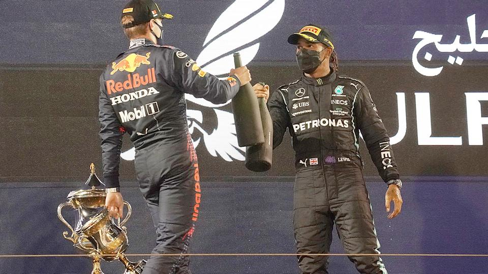 Lewis Hamilton and Max Verstappen, pictured here celebrating on the podium after the Bahrain Grand Prix.