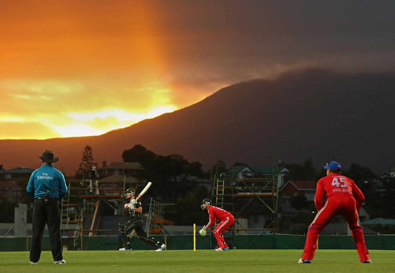 HOBART, AUSTRALIA - JANUARY 29:  Cameron White of Australia hits a boundary during game one of the International Twenty20 series between Australia and England at Blundstone Arena on January 29, 2014 in Hobart, Australia.  (Photo by Scott Barbour/Getty Images)