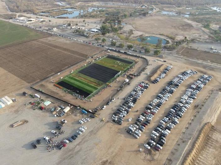 Aerial view of Winner Circle field that's hosting 11 on 11 football competitions in violation of state health guidelines.