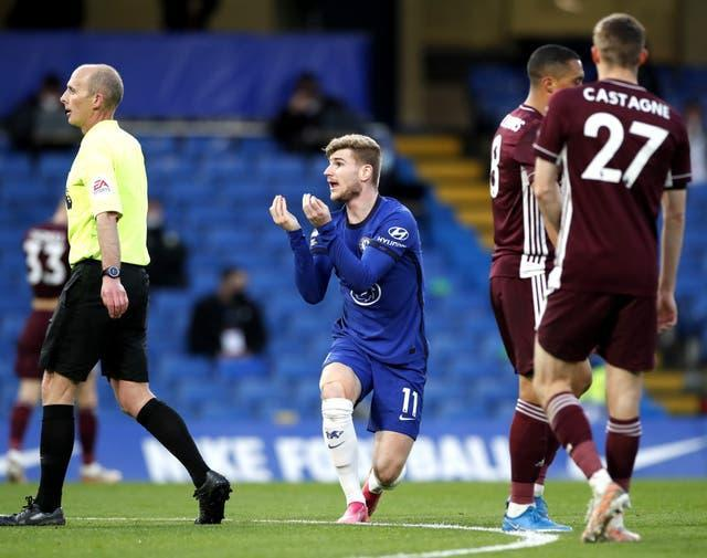 Things did not go Timo Werner's way in the first half against Leicester