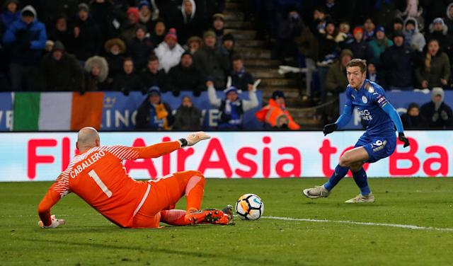 Soccer Football - FA Cup Quarter Final - Leicester City vs Chelsea - King Power Stadium, Leicester, Britain - March 18, 2018 Leicester City's Jamie Vardy in action with Chelsea's Willy Caballero REUTERS/Andrew Yates