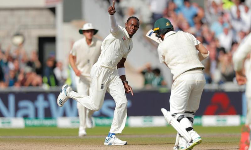 Jofra Archer bowls Travis Head during day four of the fourth Ashes Test.