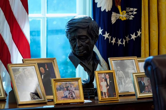 A sculpture of Latino American civil rights and labor leader Cesar Chavez is displayed in the Oval Office of the White House, Thursday, Jan. 28, 2021, in Washington. (AP Photo/Evan Vucci)