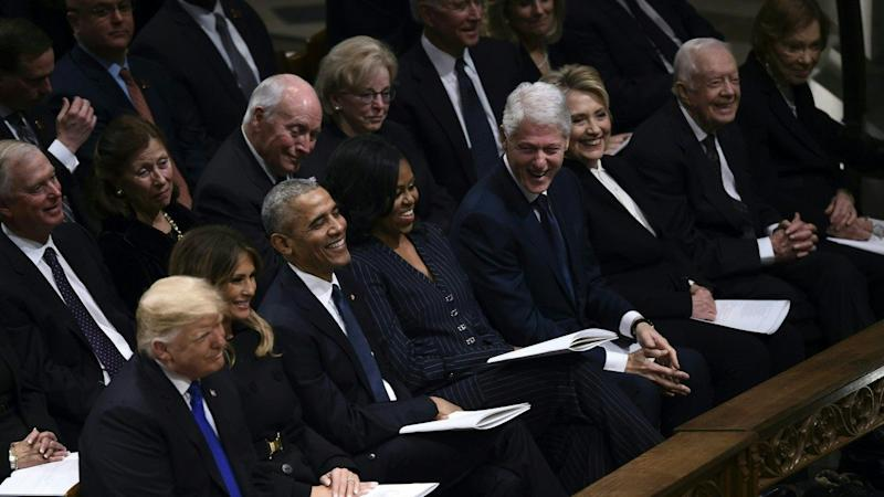 All 5 Living Presidents and First Ladies Sit in Same Row at George H.W. Bush's Funeral Service