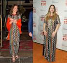<p>The multi-colored Tory Burch gown paired perfectly with Kate Middleton's bright orange shawl at a dinner during her Bhutan royal visit in 2016. Drew Barrymore styled the same dress with a bright red lip for the ASPCA Bergh Ball in 2016.</p>