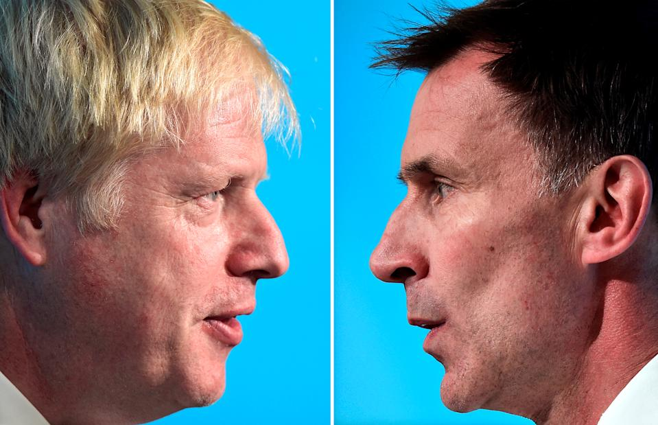 A combination pictures shows Boris Johnson and Jeremy Hunt, leadership candidates for Britain's Conservative Party, attending a hustings event in Cardiff, Wales, Britain, July 6, 2019. REUTERS/Rebecca Naden