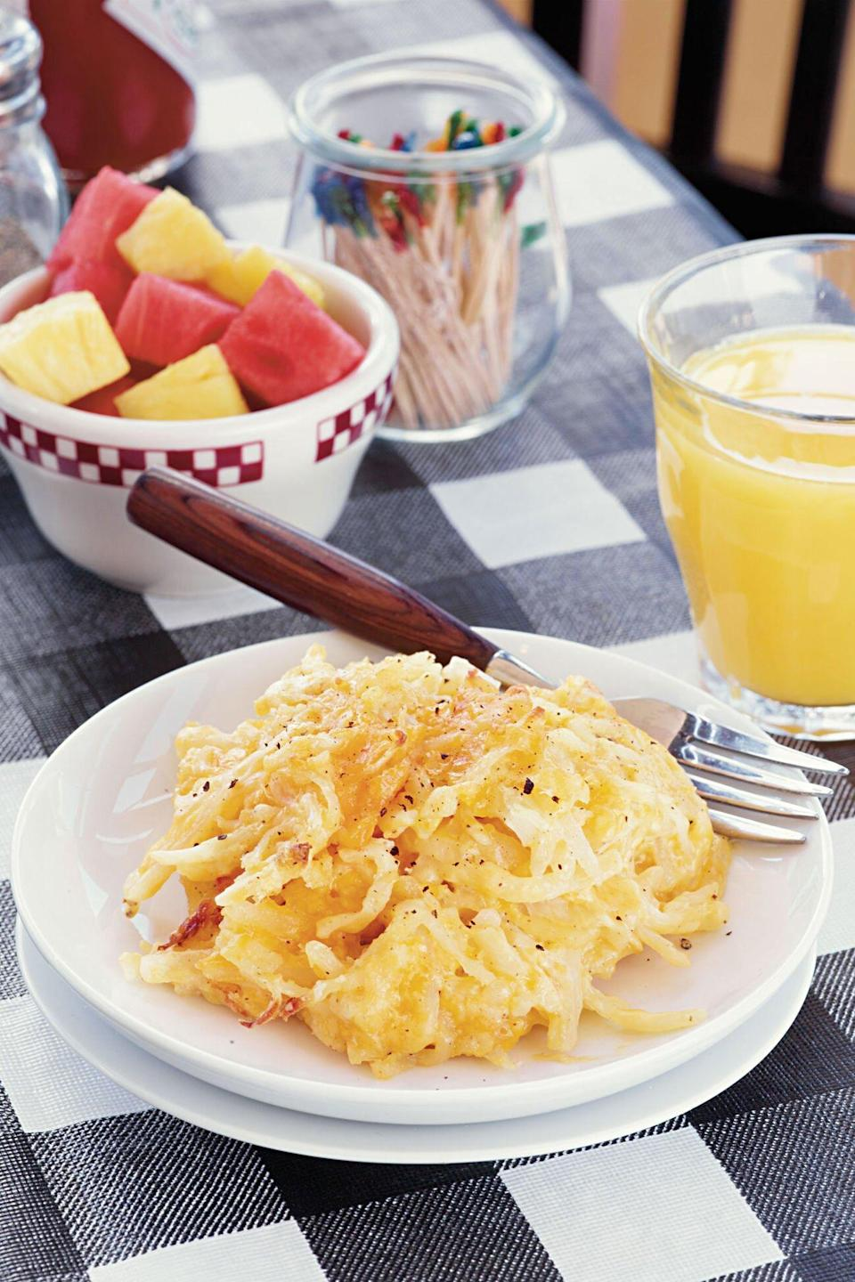 """<p><strong>Recipe:</strong> <a href=""""https://www.southernliving.com/recipes/hashbrown-casserole-recipe"""" rel=""""nofollow noopener"""" target=""""_blank"""" data-ylk=""""slk:Hash Brown Casserole"""" class=""""link rapid-noclick-resp""""><strong>Hash Brown Casserole</strong></a></p> <p>This heavenly casserole from Loveless Cafe and Motel challenges the mindset that hash browns only belong on a breakfast plate. Pre-shredded potatoes streamline this favorite dish. And while grammarians may argue whether it is """"hash brown casserole"""" or """"hashbrown casserole,"""" we'll just have a second helping.</p> <p><strong>Tour Loveless Cafe:</strong> <a href=""""http://www.southernliving.com/travel/south-central/loveless-cafe-nashville-tennessee-00417000082648/"""" rel=""""nofollow noopener"""" target=""""_blank"""" data-ylk=""""slk:Memorable Music City Dive"""" class=""""link rapid-noclick-resp""""><strong>Memorable Music City Dive</strong></a></p>"""