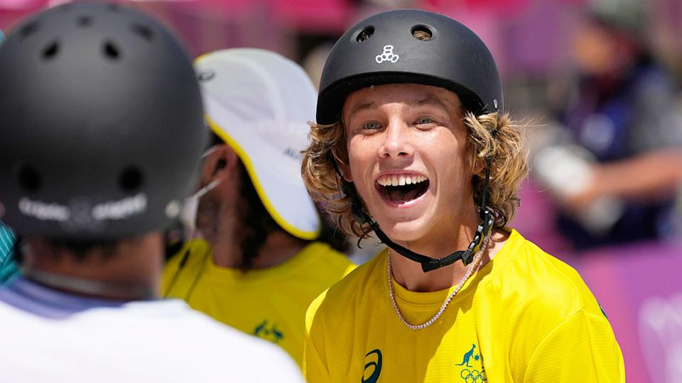 Seen here, Keegan Palmer celebrates after claiming gold in the men's park skateboarding.