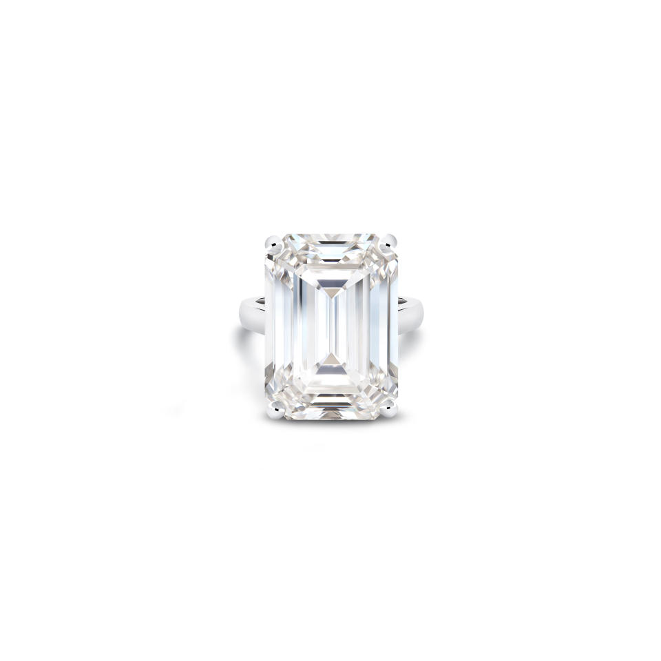A 26.07-carat emerald cut diamond from the De Beers 1888 Master Diamonds collection - Credit: Courtesy of De Beers
