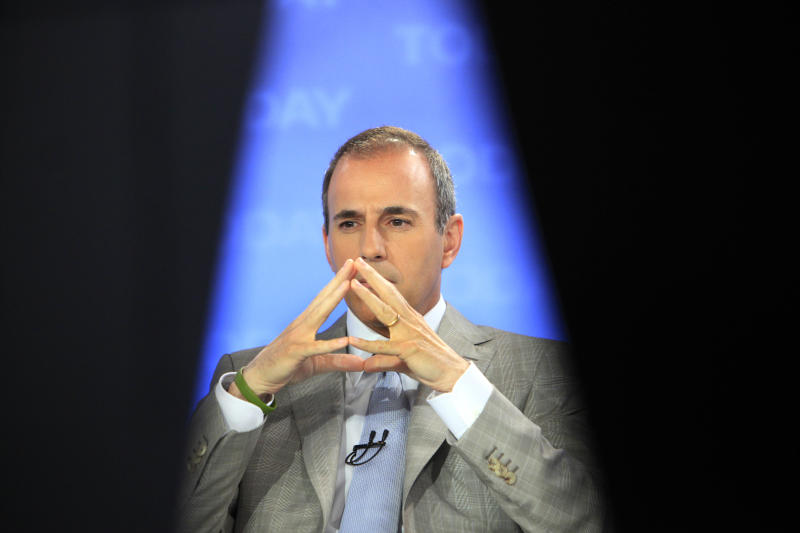 "FILE - Matt Lauer, co host of the NBC ""Today"" television program, is framed by two studio cameras, in New York in this May 11, 2009 file photo. Lauer didn't pick his beloved Bobcats to win their first game, let alone two in the 2012 NCAA tournament. And if it wasn't for producer (Tar Heel alert:) Megan Kopf, he'd have no idea what his alma mater is up against now: Five national titles, four times runner-up, a zillion Final Four appearances, the ghost of Michael Jordan. (AP Photo/Richard Drew, File)"