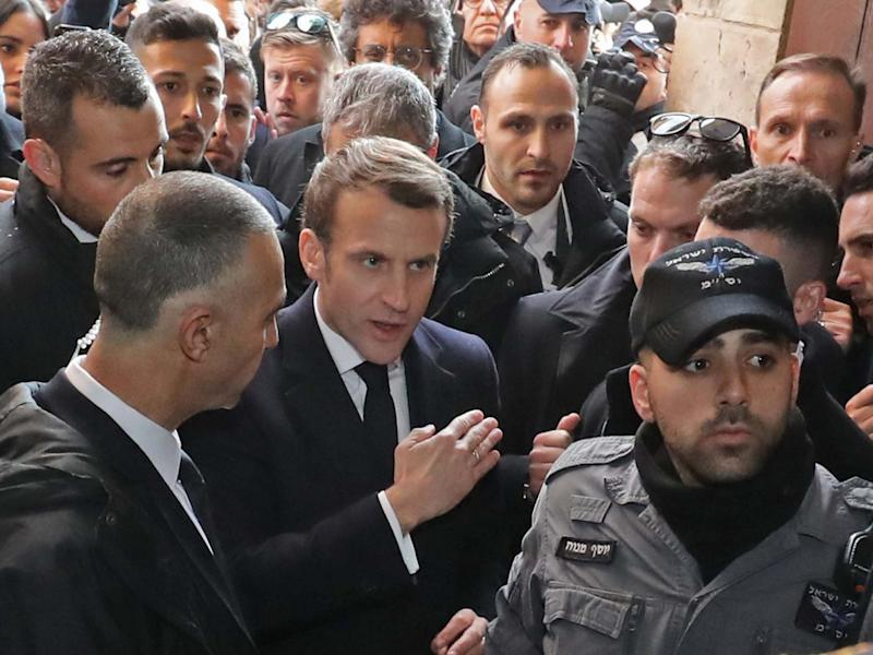 Emmanuel Macron asks the Israeli police to leave the 12th-century Church of Saint Anne in the old city of Jerusalem: AFP via Getty Images