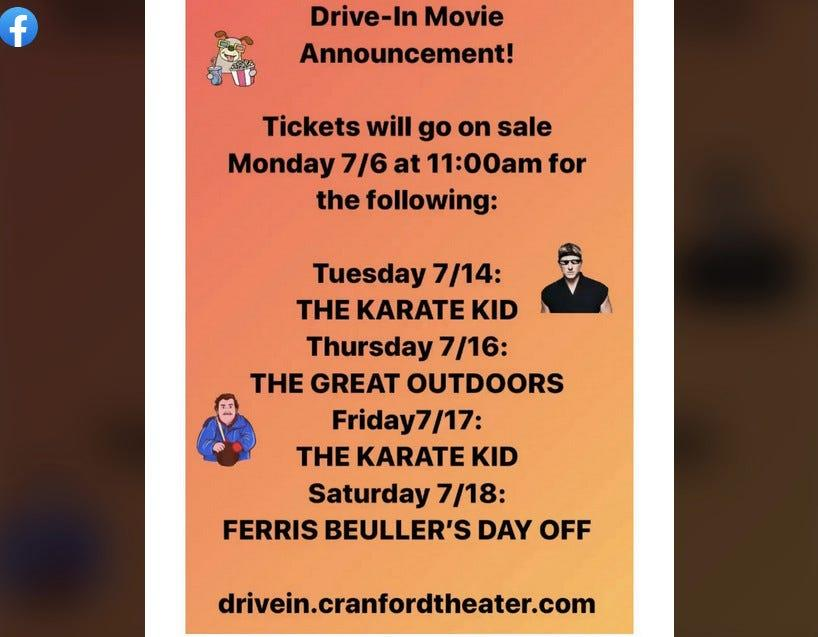 Find out what the upcoming movies are at the Cranford Theater Facebook page.